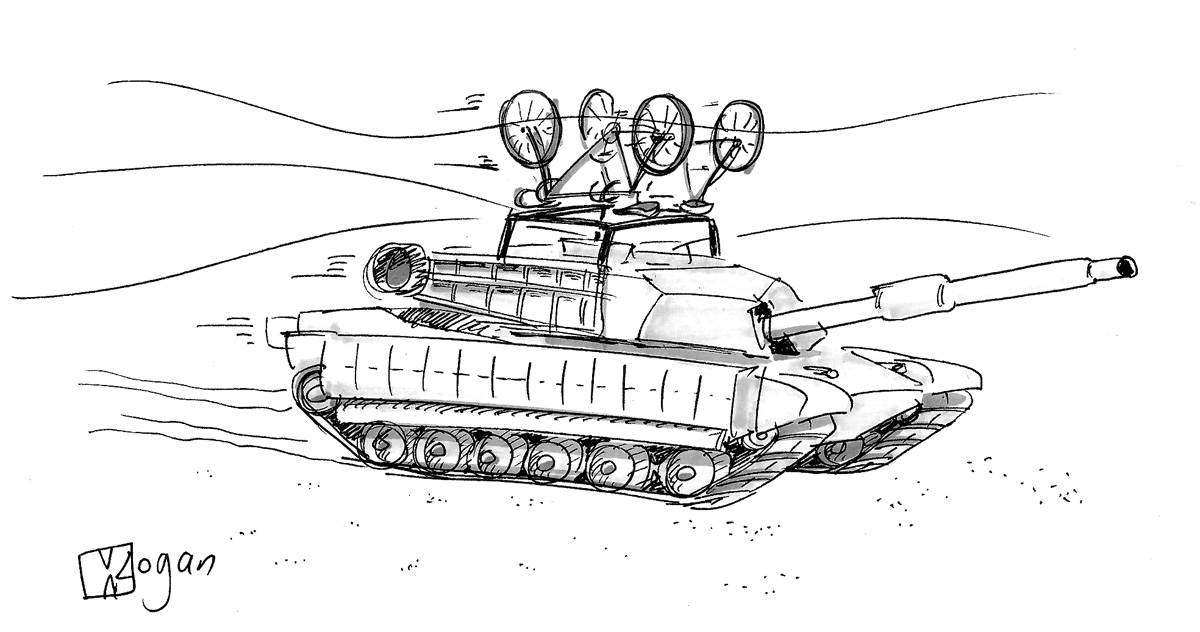 (A tank races through the desert with two bikes on top.)